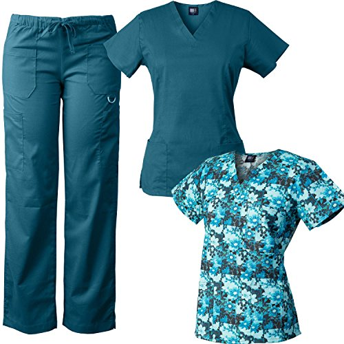 Medgear 3-Piece Tri-blend Scrubs Set with Printed Scrub Top Combo 7895-FPDT