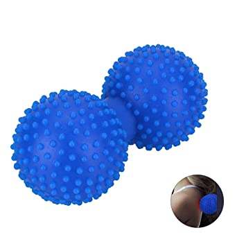 WPPOWER Spiky Ball Solid Release Knot Roller Yoga Massage Ball Silicone Double Lacrosse Roller for Massaging Muscle Knots Myofascial,Rest,Back Pain, ...
