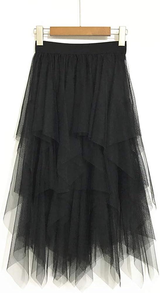 High Waist Tutu Tulle Skirt Mid-Calf Casual Tutu Skirt Black Transparent  Mesh Midi Skirt Black Tutu Skirt