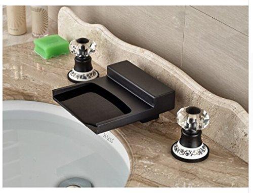 Gowe Modern Oil Rubbed Bronze Bathroom Waterfall Basin Faucet Sink Mixer Deck Mount 2 Crystal Handles 0