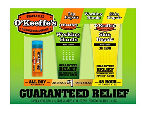 - O'Keeffe's Giftbox including Cooling Relief Lip Repair Stick, Working Hands Tube and Skin Repair Tube
