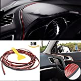 ZhuTook 3D DIY Automobile Car motor Interior Exterior Decoration Moulding Trim Strip line Sticker,Insert type Air Outlet Dashboard Decoration 3D Strip 5 meters (Red)