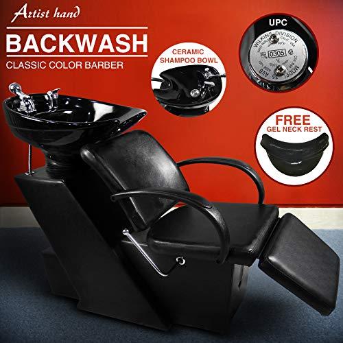 Artist Hand Backwash Salon Shampoo Station W/Adjustable Footrest Ceramic Bowl Unit W/Rubber Headrest Barber Chair All Purpose Hydraulic Recline Barber Chair Salon Beauty Spa Equipment
