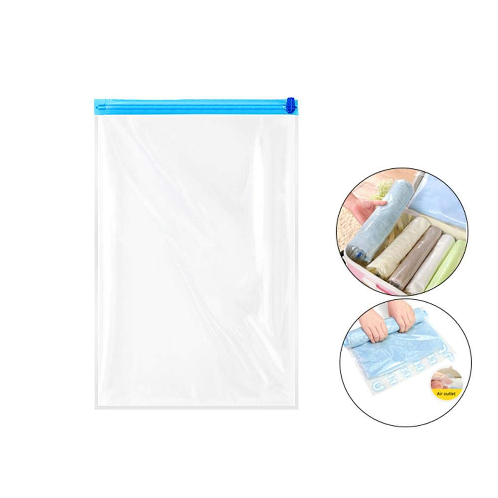 KOBWA Travel Space Saver Bags, Roll Up Reusable Vacuum Travel Storage Bag, Small to XLarge Compression Bags Clothes, Blankets, Towels - No Vacuum Machine Pump Needed