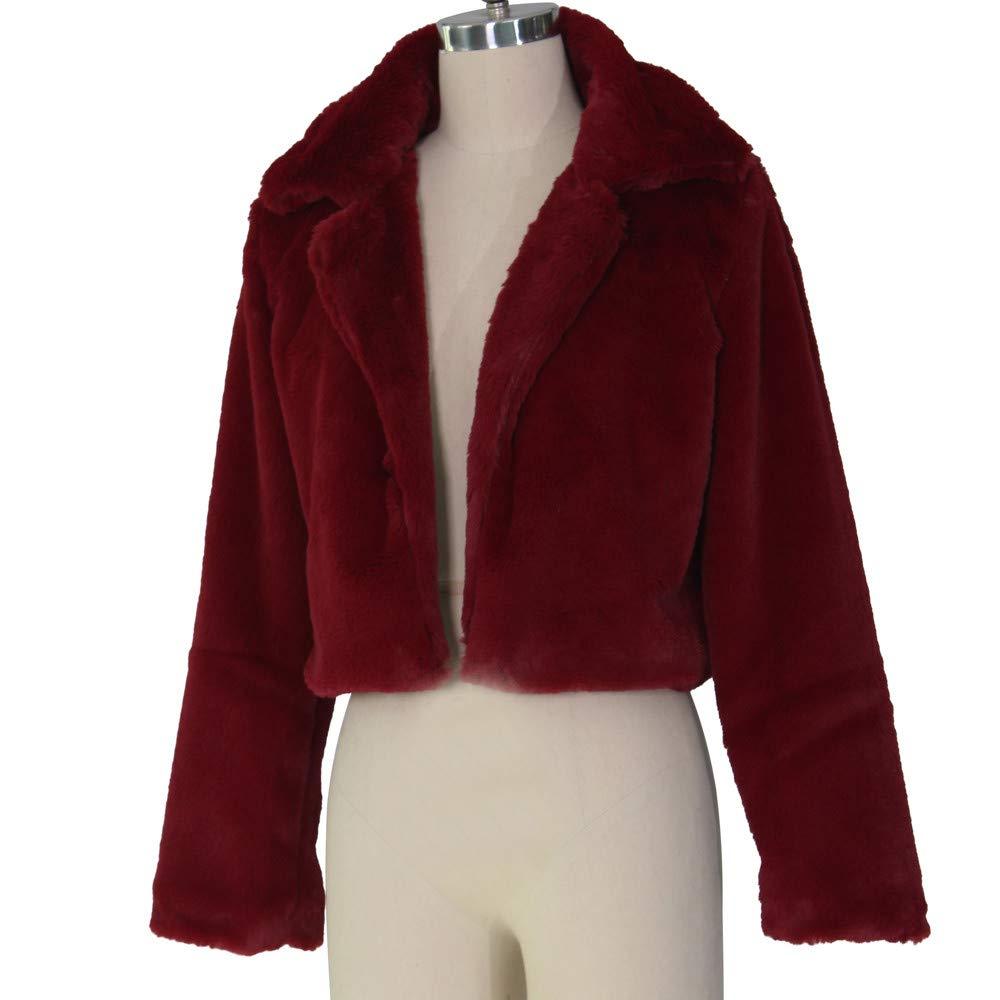 Amazon.com: AOJIAN Women Jacket Long Sleeve Outwear Fluffy Turn-Down Collar Crop Pure Color Fashion Short Coat: Clothing