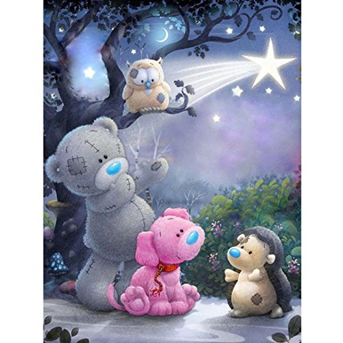- Botrong DIY 5D Diamond Painting by Number Kits, Canvas Crystal Rhinestone Diamond Embroidery Paintings Pictures Arts Craft for Home Wall Decor Gift (10X8inch / 25X20CM, Cute Bear and Dog )