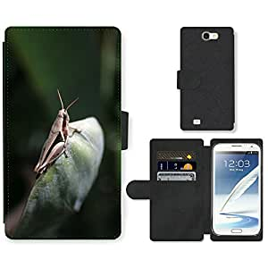 PU LEATHER case coque housse smartphone Flip bag Cover protection // M00130640 Saltamontes grillo insectos antena // Samsung Galaxy Note 2 II N7100