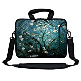 Meffort Inc 13 Inch Neoprene Laptop Bag with Extra Side Pocket, Soft Carrying Handle & Removable Shoulder Strap for 12.5 to 13.3 Inch Size Chromebook Ultrabook (Vincent Van Gogh Almond Blossoming)