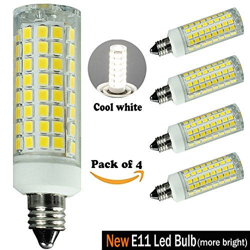 E11 LED Bulb Dimmable, Cool White 6000K, E11-100w Or 75w Equivalent Halogen Or Incandescent Bulb,T3/T4 Mini Candelabra Led Bulb,Ceiling Fan Bulb,Chandelier Bulb,e11 Bulb 110V 120V 130V (Boutique Mini Chandeliers Light)
