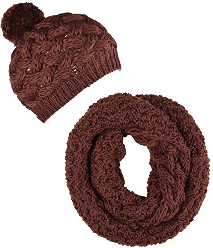 ORSKY Women's Winter Beanie Hat Infinity Scarf Set Warm Knit Coffee (Scarf Saddle Infinity Brown)