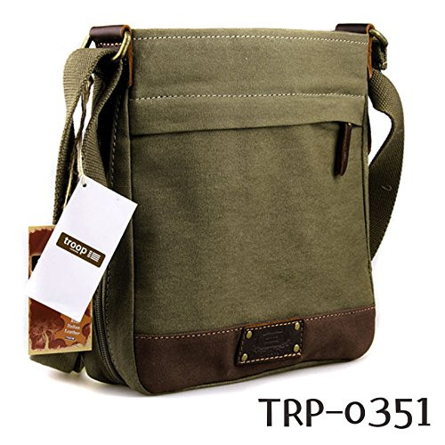 new-troop-london-trp-0351-casual-shoulder-bag-leather-canvas-fabric-lightly-waterproof