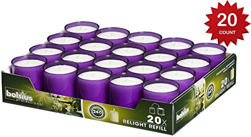 Bolsius Set Of 20 Relight Party, Restaurant Votive Candles In Purple Cup Burns Aprox. 24 Hour by Bolsius