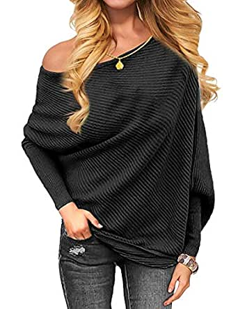 Women's Off Shoulder Batwing Sleeve Loose Pullover Sweater Knit Jumper Oversized Tunics Top - Black - Small
