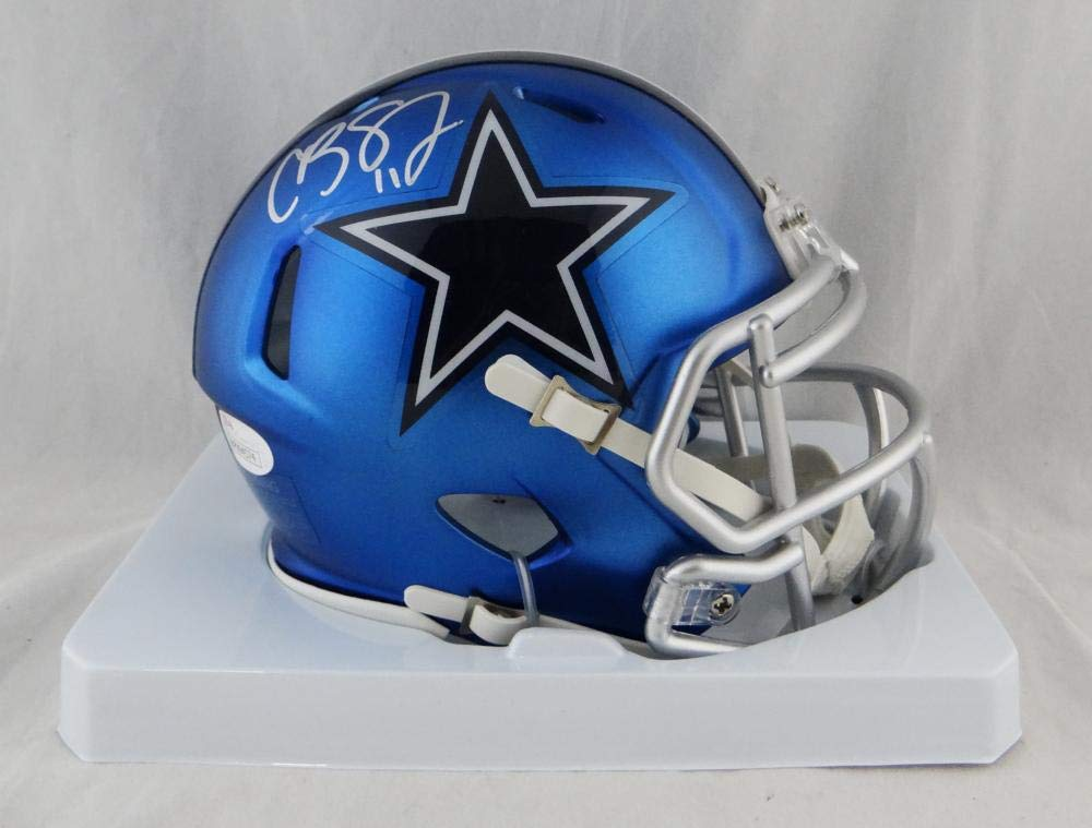 Cole Beasley Autographed Dallas Cowboys Blaze Mini Helmet JSA W Auth Silver