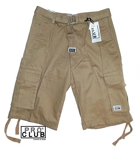 Pro Club Men's TWILL CARGO SHORT PANTS - Khaki Pants: 46
