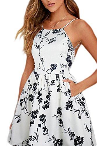 La Mujer Es Elegante Sin Espalda Vestido De Verano Estampado Floral Swing Boho Whiteblack