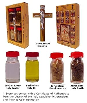 Crucifix with Holy Water, Anointing Oil, Frankincense & Earth - Made in Bethlehem