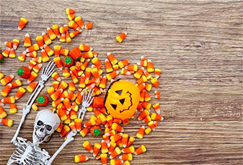 LFEEY 10x8ft Halloween Candy Corn Skull Skeleton on Wooden Board Background Grimace Pumpkin Jack O Lantern Photography Backdrop Trick or Treat Holiday Party Decor Photo Studio Props Vinyl Banner