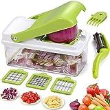 zigzag slicer - Vegetable Food Chopper Dicer Salad Slicer Grater Cutter Artbest Manual Onion Shredder Fruit Cutter with 3 Stainless Steel Blades