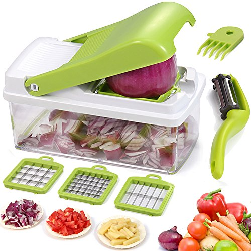 Manual Cutter (Vegetable Chopper Dicer Slicer Grater Cutter Artbest Manual Onion Shredder Fruit Cutter with 3 Stainless Steel Blades)