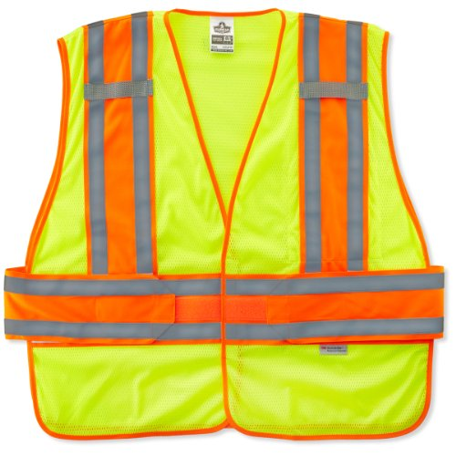 Two Safety Vest Expandable Tone - Ergodyne GloWear 8240HL Two Tone Expandable Reflective Safety Vest, Lime, M/L