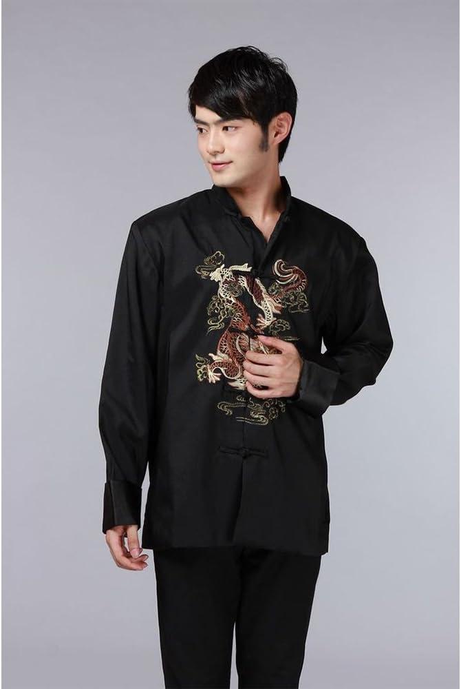 BOZEVON Camisa de Tai Chi de Estilo Chino Top de Seda Kung Fu Traje de Seda de los Hombres Chaqueta de Traje de Manga Larga Patrón de dragón (Negro): Amazon.es: Ropa y