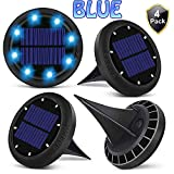 Bakiya Solar Disk Automatic Waterproof Ground Lawn Pathway 8 Led Lights (4, Blue)