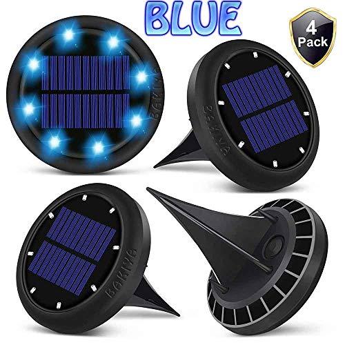 BAKIYA Blue 8 LED Disk Waterproof Solar Ground Pathway Deck Lights Automatic (4, Blue)
