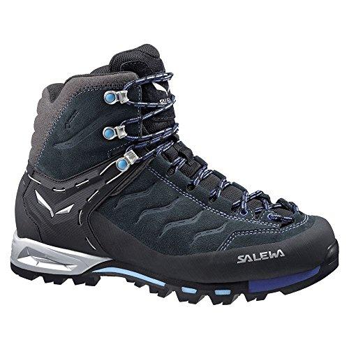 Combat Evo Carbon - Salewa Women's WS MTN Trainer Mid GTX Hiking Shoe, Carbon/River Blue, 9 M US