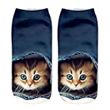 Pausseo 1 Pair Unisex Girls Boys Sports Short Socks 3D Funny Cat Animal Printed Anklet Comfortable Home Adult Beds Socks Soft Breathable Low to Help Women Men Casual Business Digital Stocking Set (C)