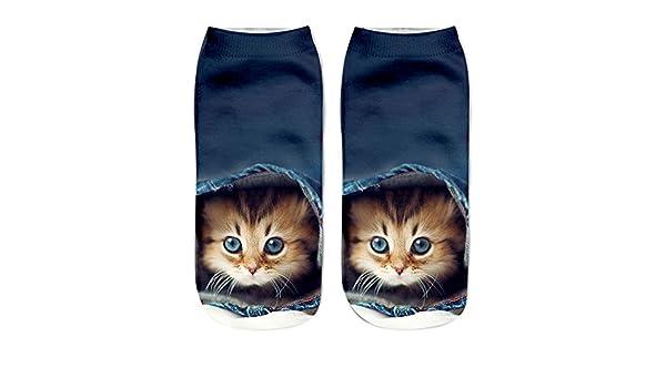 Kinlene Calcetines cortos unisex divertidos populares 3D Cat Impreso tobilleras Calcetines Calcetines casuales: Amazon.es: Ropa y accesorios