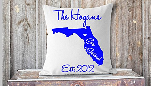 Arthuryerkes Go Gators Pillow Florida Gators Monogram Pillow Dorm Room Pillow Gainesville Florida Family Pillow]()