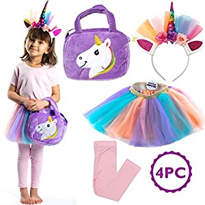 Little Jupiter Premium Girls Rainbow Unicorn Tutu Set 4PC Layered Dress for Age 2-8 Years Costume Unicorn Party 4