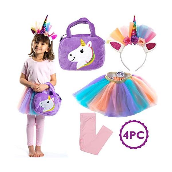 Little Jupiter Premium Girls Rainbow Unicorn Tutu Set 4PC Layered Dress for Age 2-8 Years Costume Unicorn Party 3