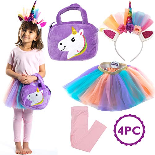 Girls Rainbow Unicorn Tutu Set - 4PC -Bag - Pastel Colors w/Layered Dress Skirts - Headband - for Age 7-8 Years Old Costume - Little Girl Princess - Lavender - - 3 Leggings Piece Embroidered