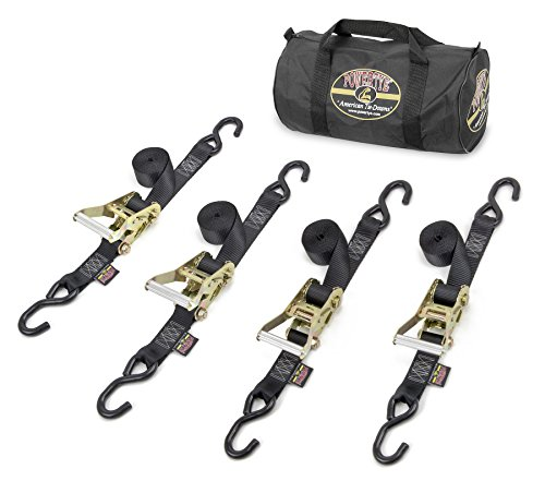 """Wholesale 1½"""" x 8ft PowerTye Made in USA Heavy-Duty Industrial Ratchet Kit with Storage Bag - 4 Heavy Duty Industrial Ratchet Tie-Downs with S-Hooks, Black Kit"""