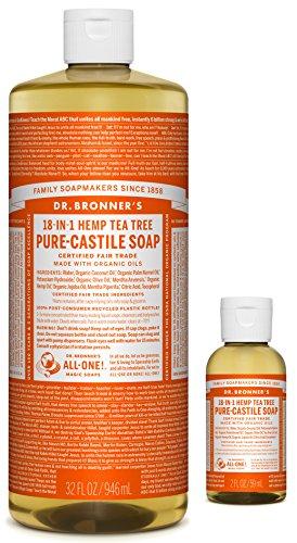18in 1 Hemp - Dr. Bronner's Pure-Castile Liquid Soap – Tea Tree Bundle. 32 oz. Bottle and 2 oz. Travel Bottle