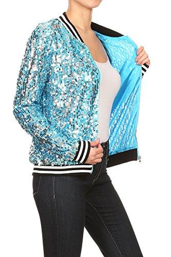 Giacca kaci Righe Blazer Bomber Con Sequin Lunga Zip A Blu Giubbotto Frontale Donna Da Anna Manica FwxSdqa6q