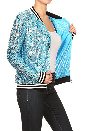 Blu Frontale Giacca Anna Lunga Zip Righe Donna A Blazer Con Manica Sequin Giubbotto Bomber Da kaci 6Uq7pw6x1Z