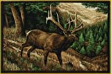 Wilderness Mountain Elk Rug 37″ x 52″ Woods Rustic Carpet Wildlife Theme Decor For Sale
