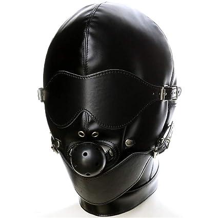 Hylrc PU Cuero Fetiche Boca Mordaza Arnés Sombrero Capucha Ojo Máscara Cabeza Cubierta Bondage Restricción Disfraz