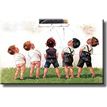 Boys Contest Urinating into Window Picture on Stretched Canvas, Wall Art Decor, Ready to Hang!