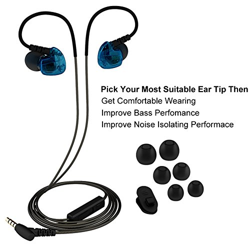 rovking in ear sweatproof noise isolating universal wired sport headphones with remote mic and