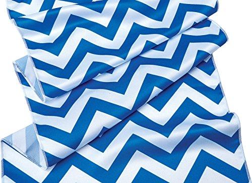 Luna Bazaar Cobalt Blue and White Chevron Striped Table Runner- (14 Inches x 9 Feet) -