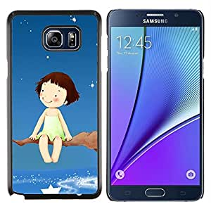 LECELL--Funda protectora / Cubierta / Piel For Samsung Galaxy Note 5 5th N9200 -- Sueño rama de árbol Estrellas Cielo Chica Felicidad Arte --