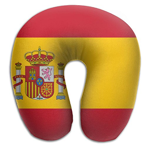 BRECKSUCH Flag Of Spain Print U Type Pillow Memory Foam Neck Pillow For Travel And Relief Neck Pain Comfortable Super Soft Cervical Pillows With Resilient Material Relex Pollow by BRECKSUCH