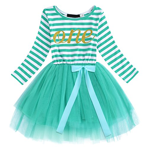 Newborn Baby Girl Princess Long Sleeve Shinny Stripe Crown Printed 1st/2nd/3rd Birthday Cake Smash Tulle Tutu Skirt Dress
