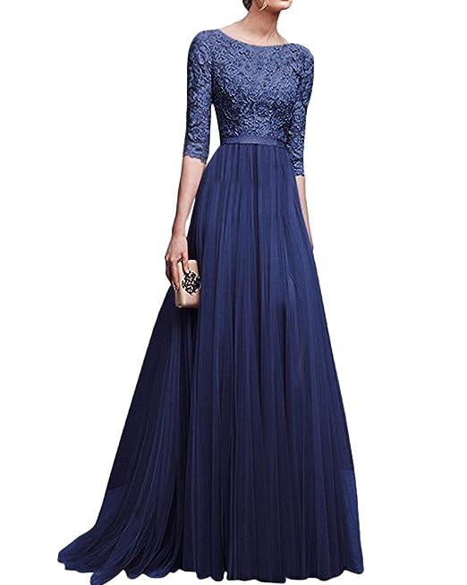 Vestido fiesta encaje azul