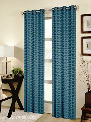 CHD Home Textiles Mortlake Curtain Panel, Teal (H&c Key Greek)