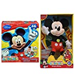 Mozlly Value Pack - Disney Mickey Mouse Clubhouse Singing Plush - 12 Inch Soft Stuffed Animal and 46pc Jigsaw Floor Puzzle - 3ft Wide - Easy to Play, Large Puzzle Pieces - Toys and Games (2 Items)